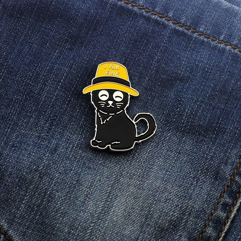 CUFTS Black Cat Enamel Lapel Pin Funny Cute Cat Enamel Pins for Backpacks Hat Bags Chrismas Birthday Gift