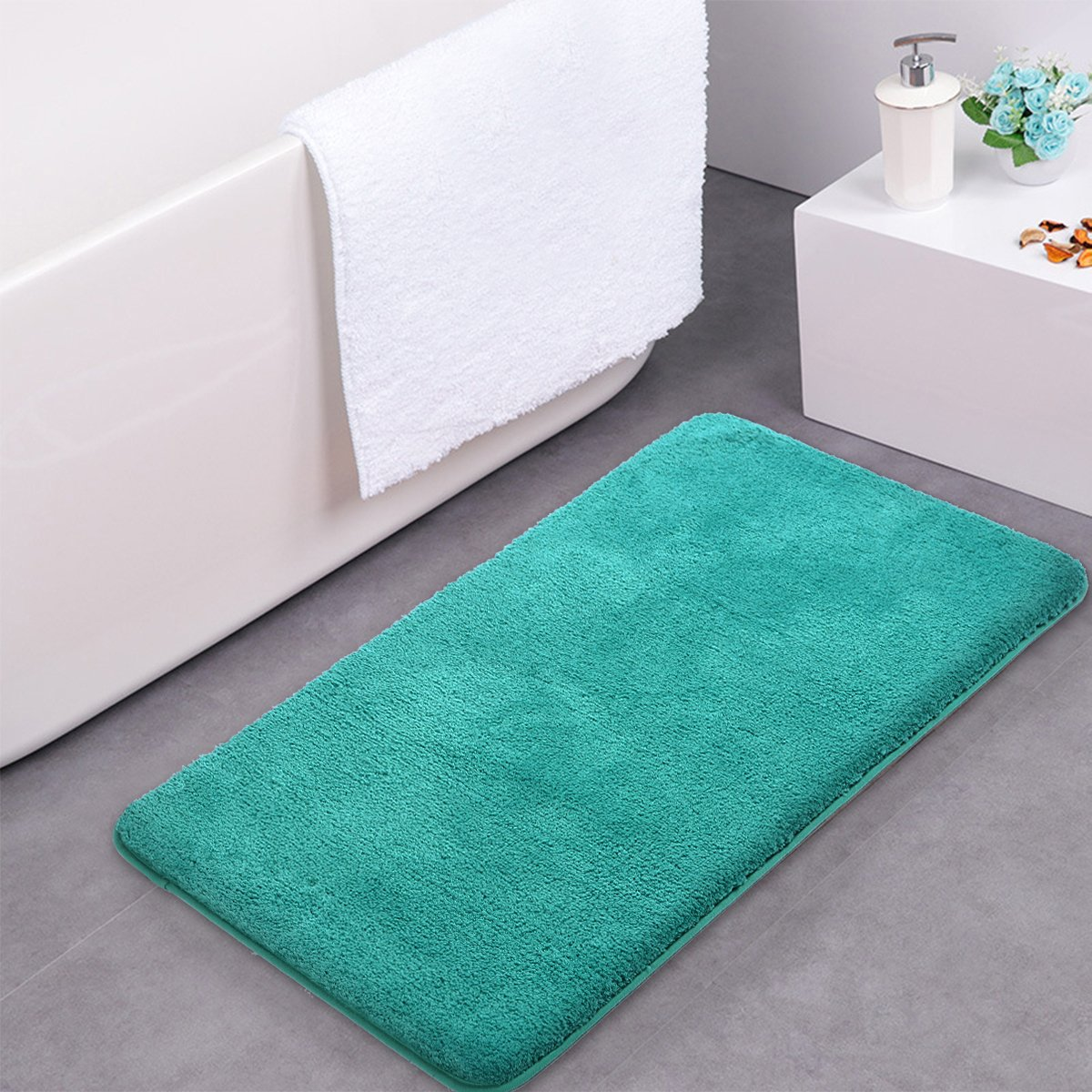mayshine Bath Mat pedestal Toilet Bathroom Rug Non slip Machine washable Soft Microfiber - White 50x60U MS170307