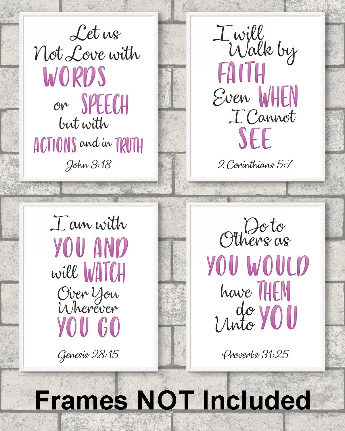 """Religious wall art prints – Set of 4 prints 8"""" x 10"""" unframed motivational wall decor for your loved one."""