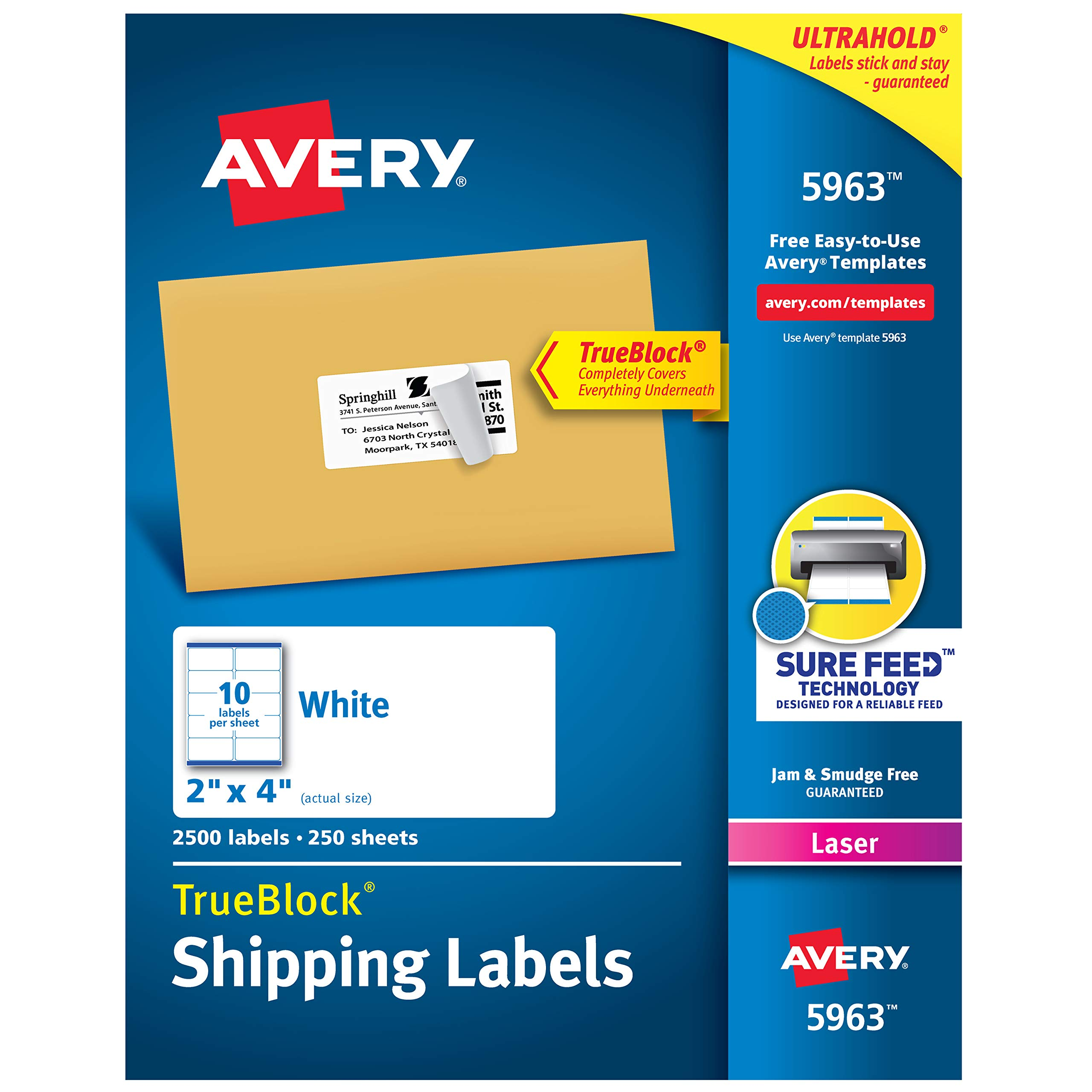 Avery Shipping Address Labels, Laser Printers, 2,500 Labels, 2x4 Labels, Permanent Adhesive, TrueBlock (5963), White by AVERY