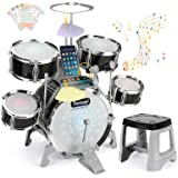 BEAURE Jazz Drum Set for Kids with Light Sound Microphone Compatible with Mobile Phone/Computer/MP3 Musical Playset Education