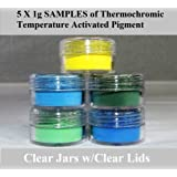 ThermoChromic Temperature Activated Pigment that changes at 88⁰F (31 ⁰C) - Great for making color-changing slime, Paint, Nail Polish, Fabric Art and More (5 x 1g Samples, Mixed Colors)