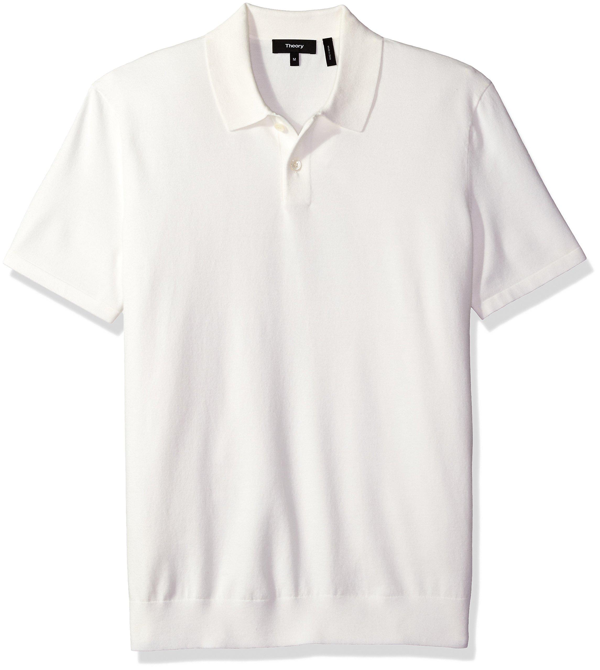 Theory Men's Goris Pl Fine Bilen Short Sleeve Polo, White, Small