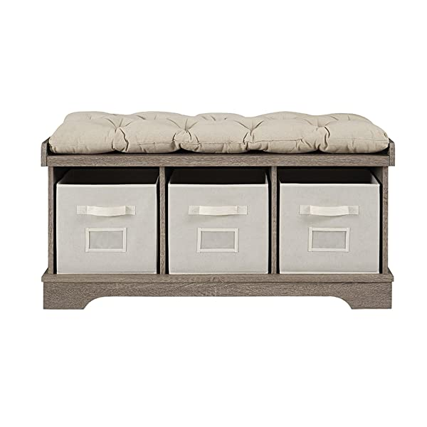 "WE Furniture 42"" Wood Storage Bench with Totes & Cushion, Driftwood"