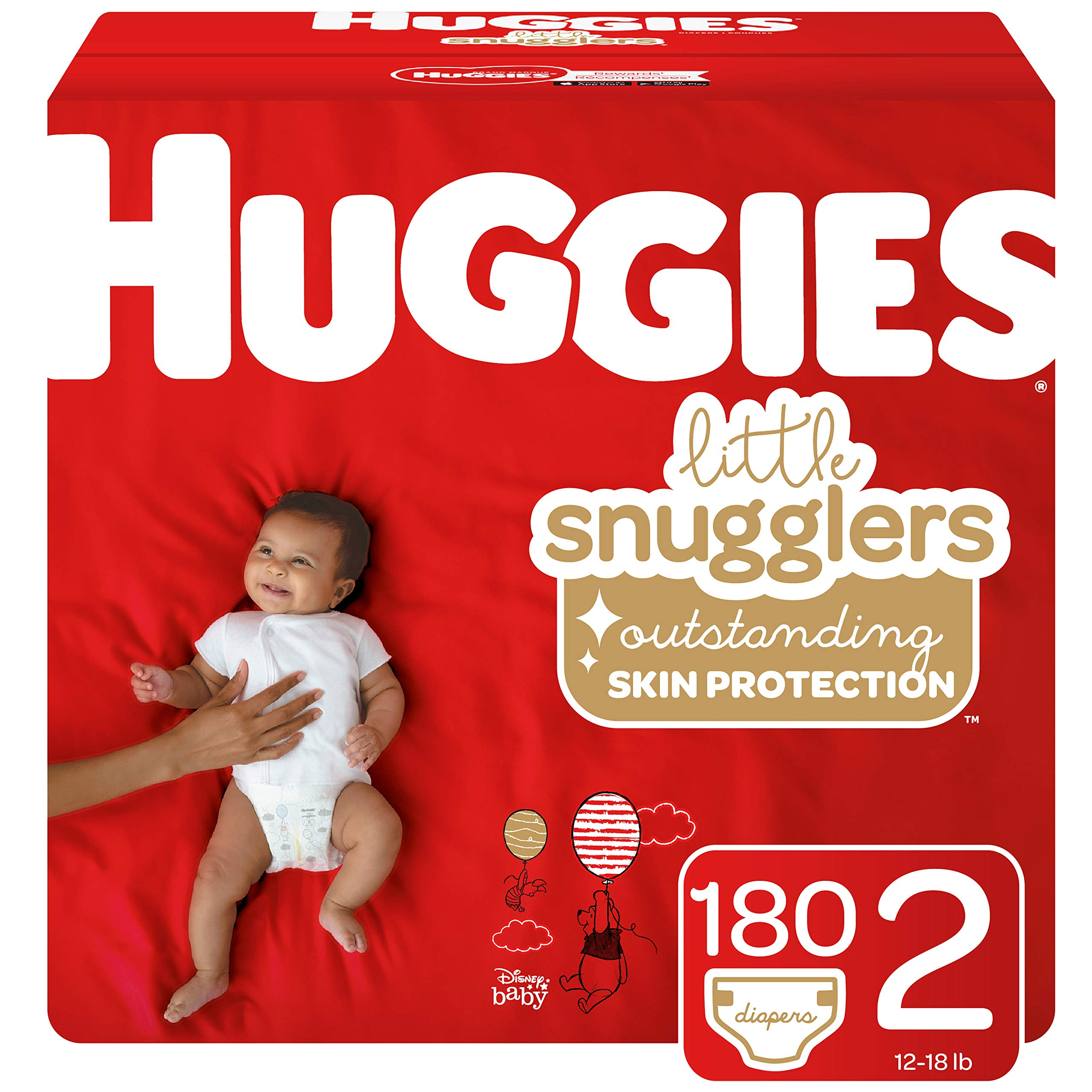 Huggies Little Snugglers Baby Diapers, Size 2 (up to 12-18 lb.), Economy Plus Pack, 180 Count (Packaging May Vary) by HUGGIES