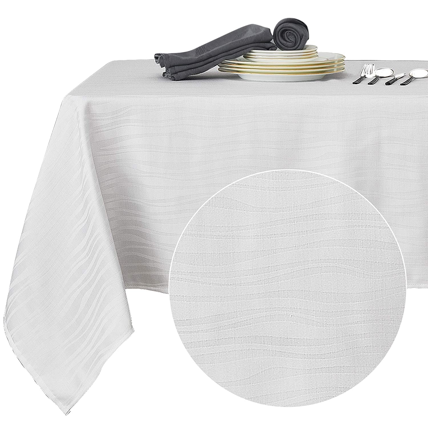 Deconovo Decorative Jacquard Rectangle Tablecloth Vibrant Waves Wrinkle Resistant and Waterproof Tablecloths for Dining Room 60 x 84 inch White