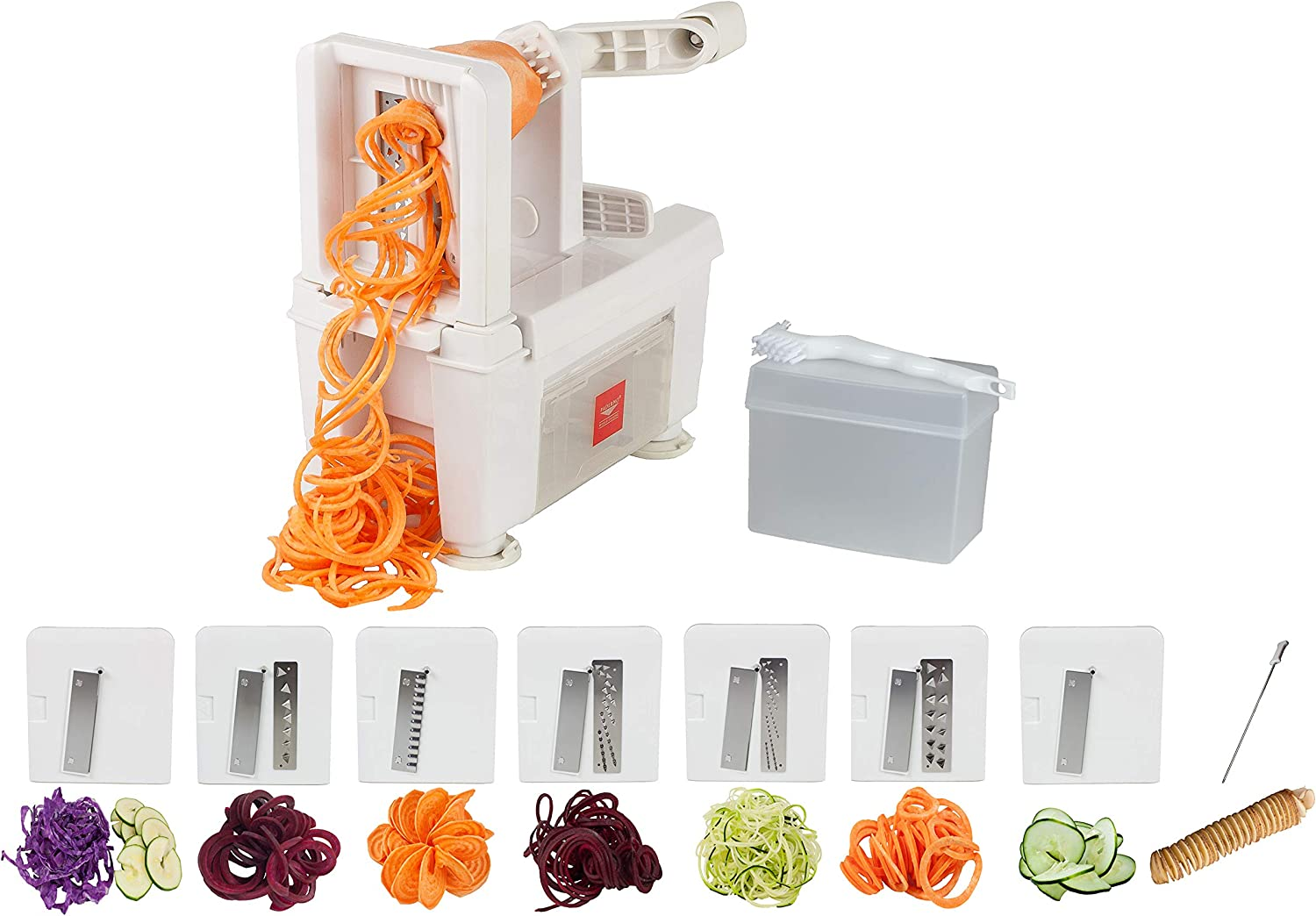 Paderno World Cuisine A4982807 8-Cut Collapsible Spiralizer, Folding 7-Blade, White