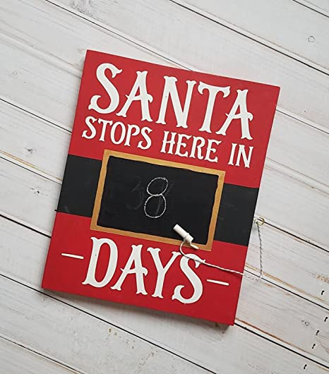 santa stops here in x days wooden chalkboard christmas countdown sign red black and metallic gold - Christmas Countdown Sign