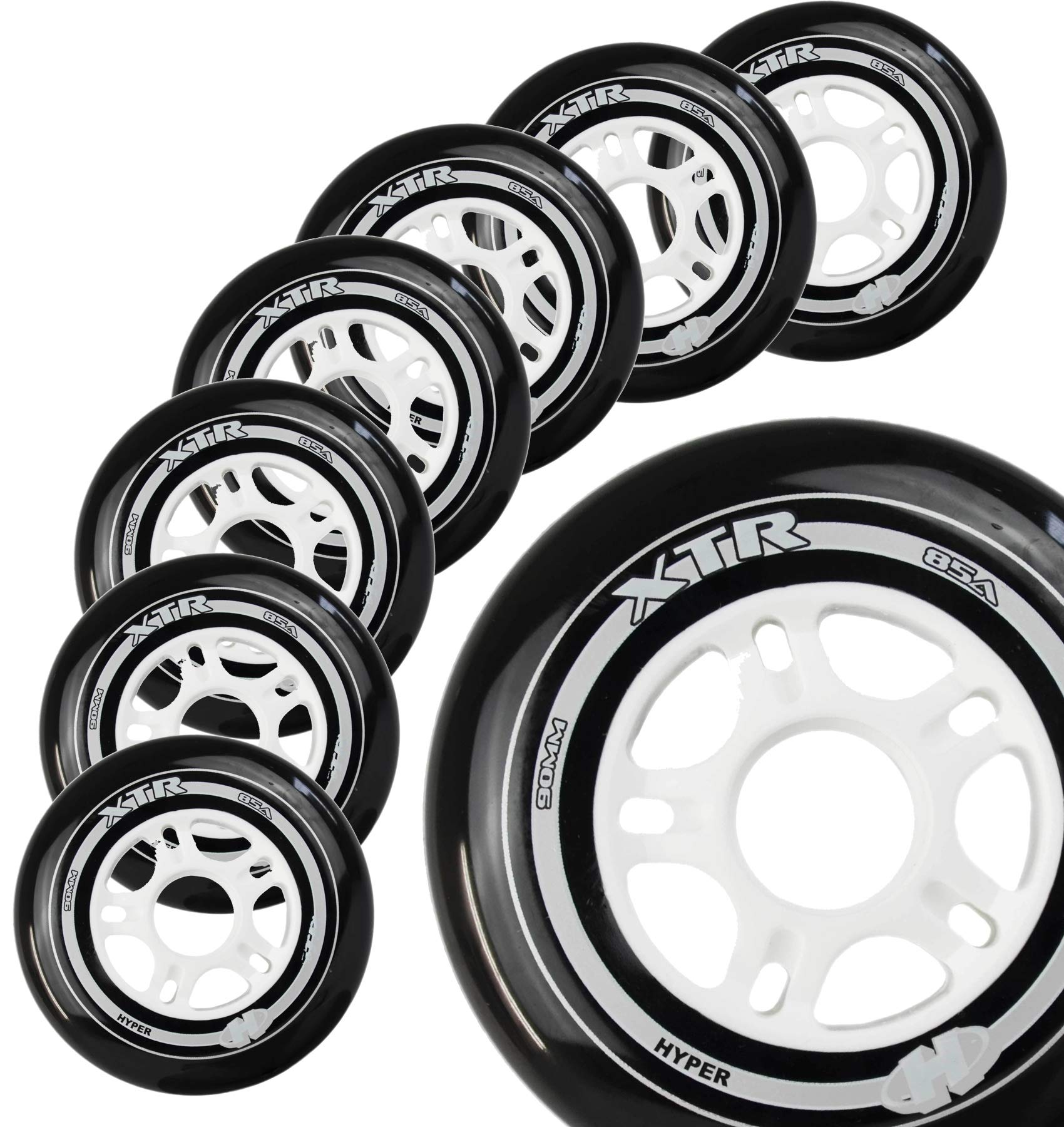 Inline Skate Wheels Hyper XTR - 8 Wheels - 84A - Sizes: 84MM, 90MM, 100MM - Speed Skating, Fitness and Recreational Wheels (Black, 100MM)