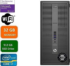 HP EliteDesk 800 G2 Business Desktop Mini Tower, Intel Core i7 6700 3.4Ghz, 32GB DDR4 RAM, 512GB SSD Hard Drive, Windows 10 Pro (Renewed)