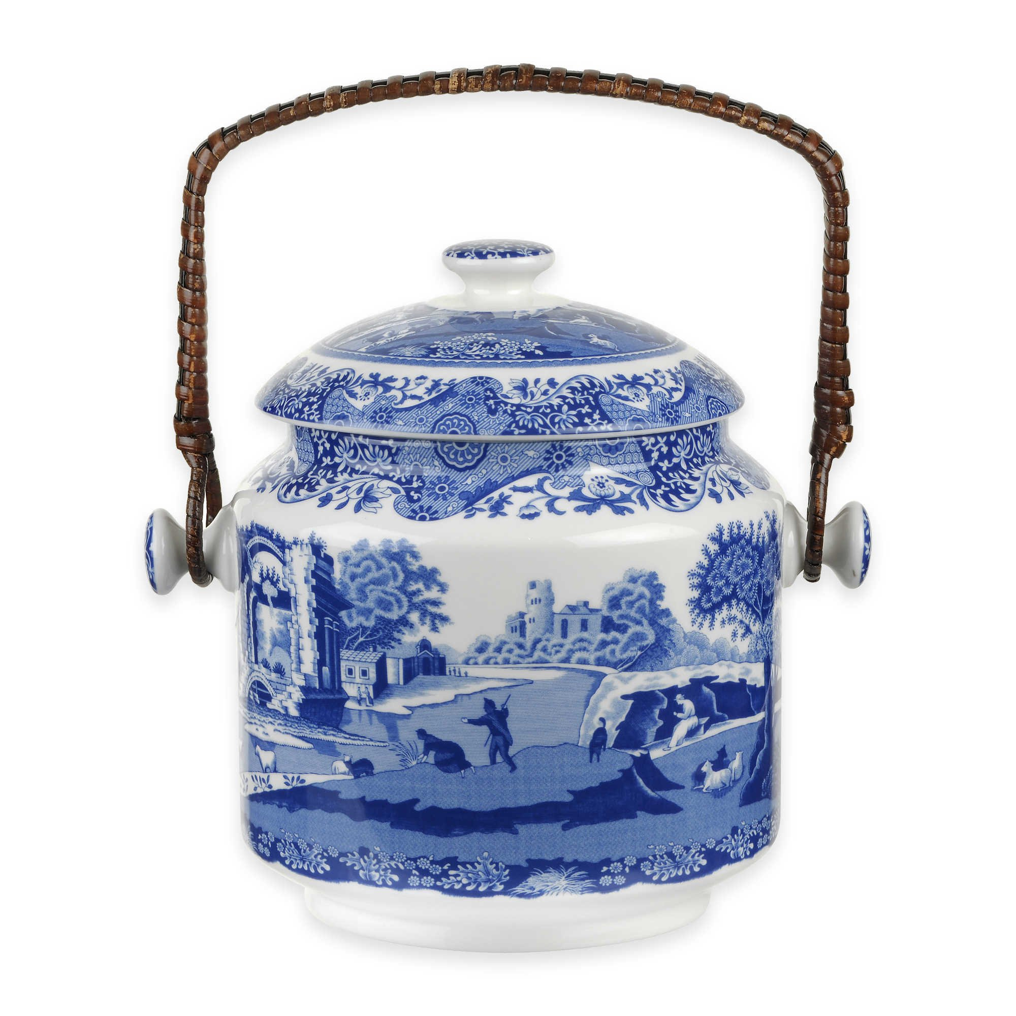 Spode Blue Italian 200th Anniversary Biscuit Barrel by Spode