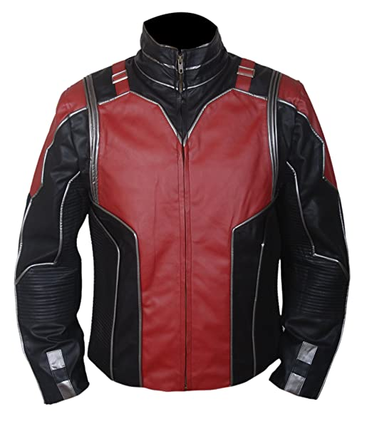 Antman (Paul Rudd) Red and Black Leather Jacket at Amazon ...
