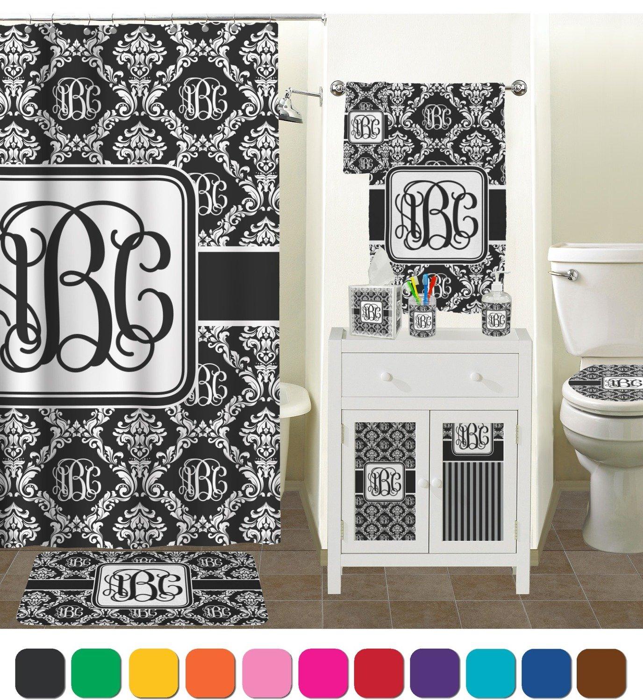 Amazon.com: Monogrammed Damask Bathroom Accessories Set ...