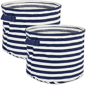 DII Fabric Round Room, Nurseries, Closets & Everyday Storage Needs, Large Set of 2-French Blue Stripe Laundry Bin,