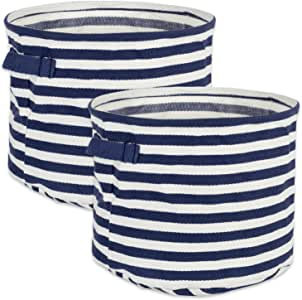 DII Fabric Round Room, Nurseries, Closets & Everyday Storage Needs, Large Set of 2-French Blue Stripe Laundry Bin,