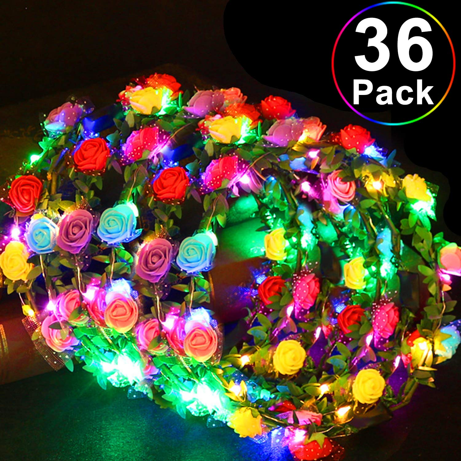 36 Pack Party Favors LED Headband Flower Crowns, Flashing Flower Wreath Headband Glow in The Dark Classroom Party Supplies Adjustable Flower Headband Light Up Toys for Kids Adults Halloween Birthday