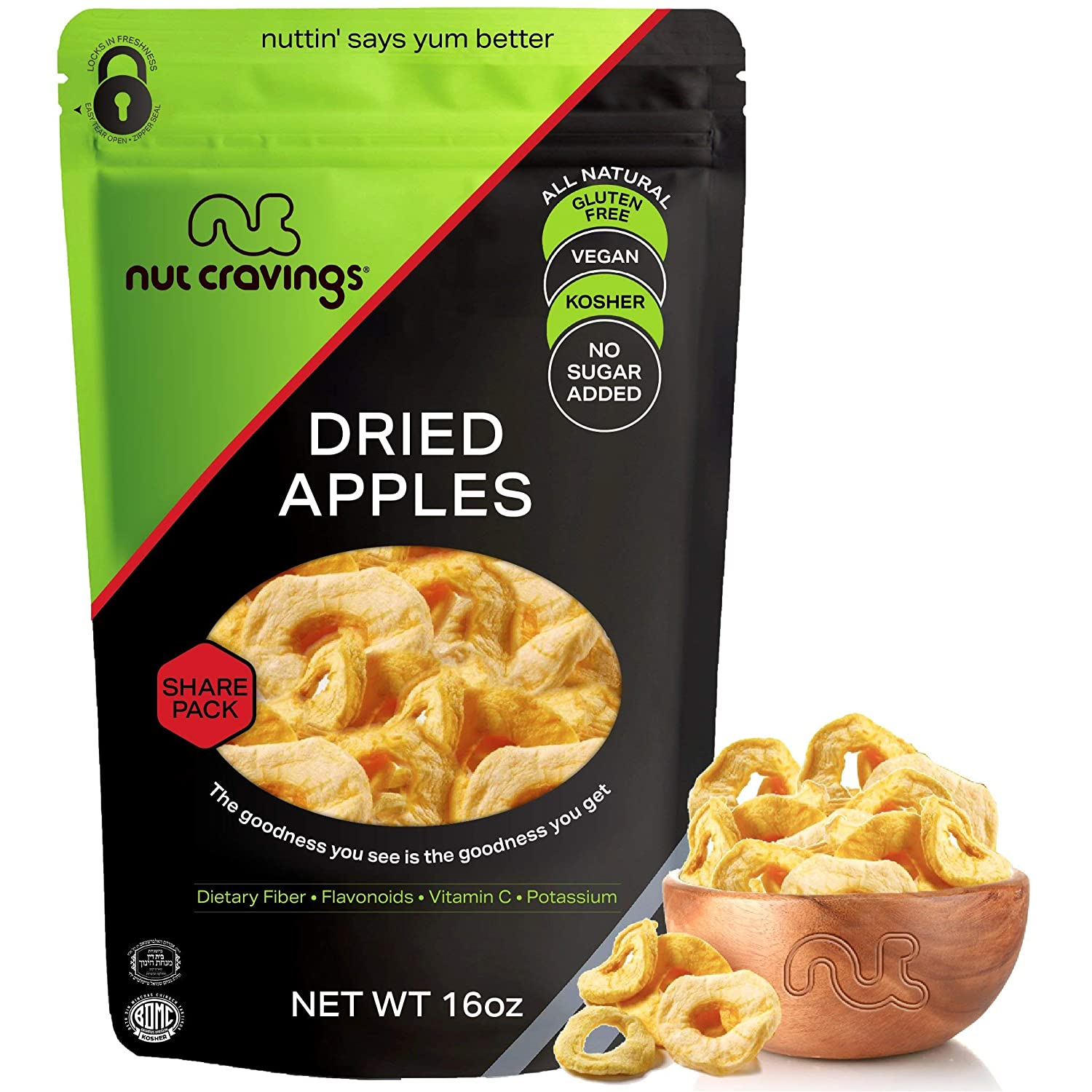 Sun Dried Apple Rings Slices, No Sugar Added (16oz - 1 Pound) Packed Fresh in Resealable Bag - Sweet Dehydrated Fruit Treat, Trail Mix Snack - Healthy Food, All Natural, Vegan, Kosher Certified