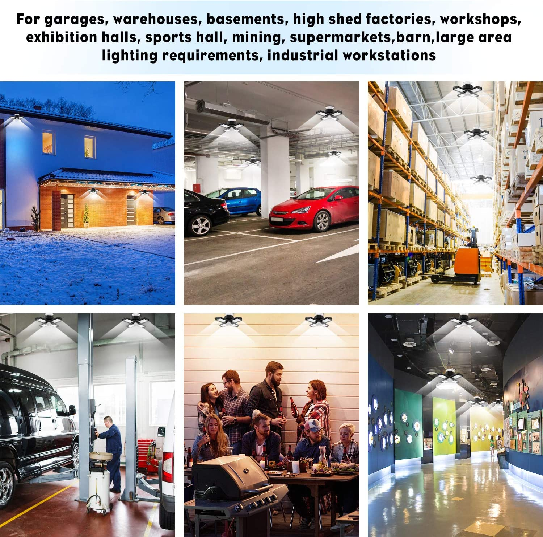 Workshop,High Bay and Yard(Black) Warehouse Barn Deformable Led Garage Lights,4 Adjustable Leaf Garage Lights Ceiling LED 150W,15000LM E26//E27 Garage Light Bulb Fits for Garage