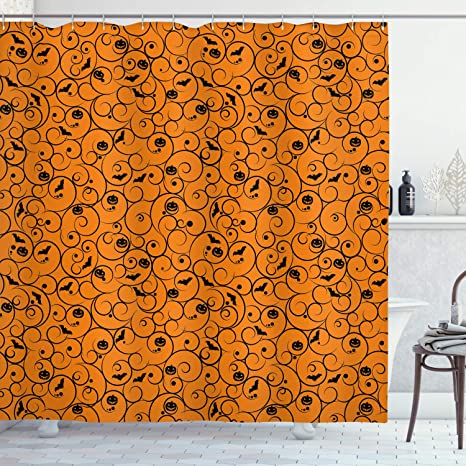 Amazon Com Ambesonne Halloween Shower Curtain Floral Swirls With Dots Little Bats Open Wings And Pumpkins Seasonal Pattern Cloth Fabric Bathroom Decor Set With Hooks 70 Long Orange Black Home Kitchen