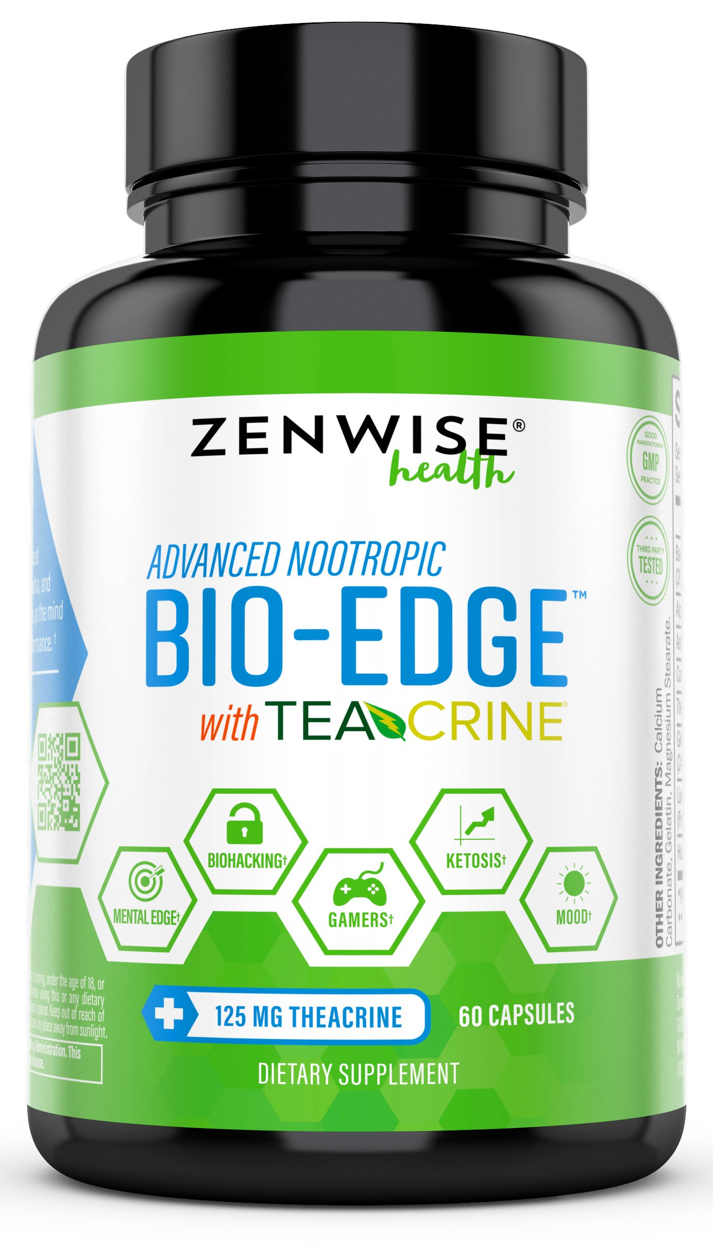 Nootropic with 125mg TeaCrine Theacrine - Ashwagandha & Alpha GPC + Bacopa Monnieri Extract for Energy & Focus - Bio Edge Mental Fuel & Keto Diet Friendly Supplement - 60 Capsules