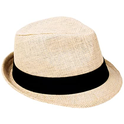 38757e9eb8e05 ... Simplicity Summer Sun Short Brim Straw Fedora Hat