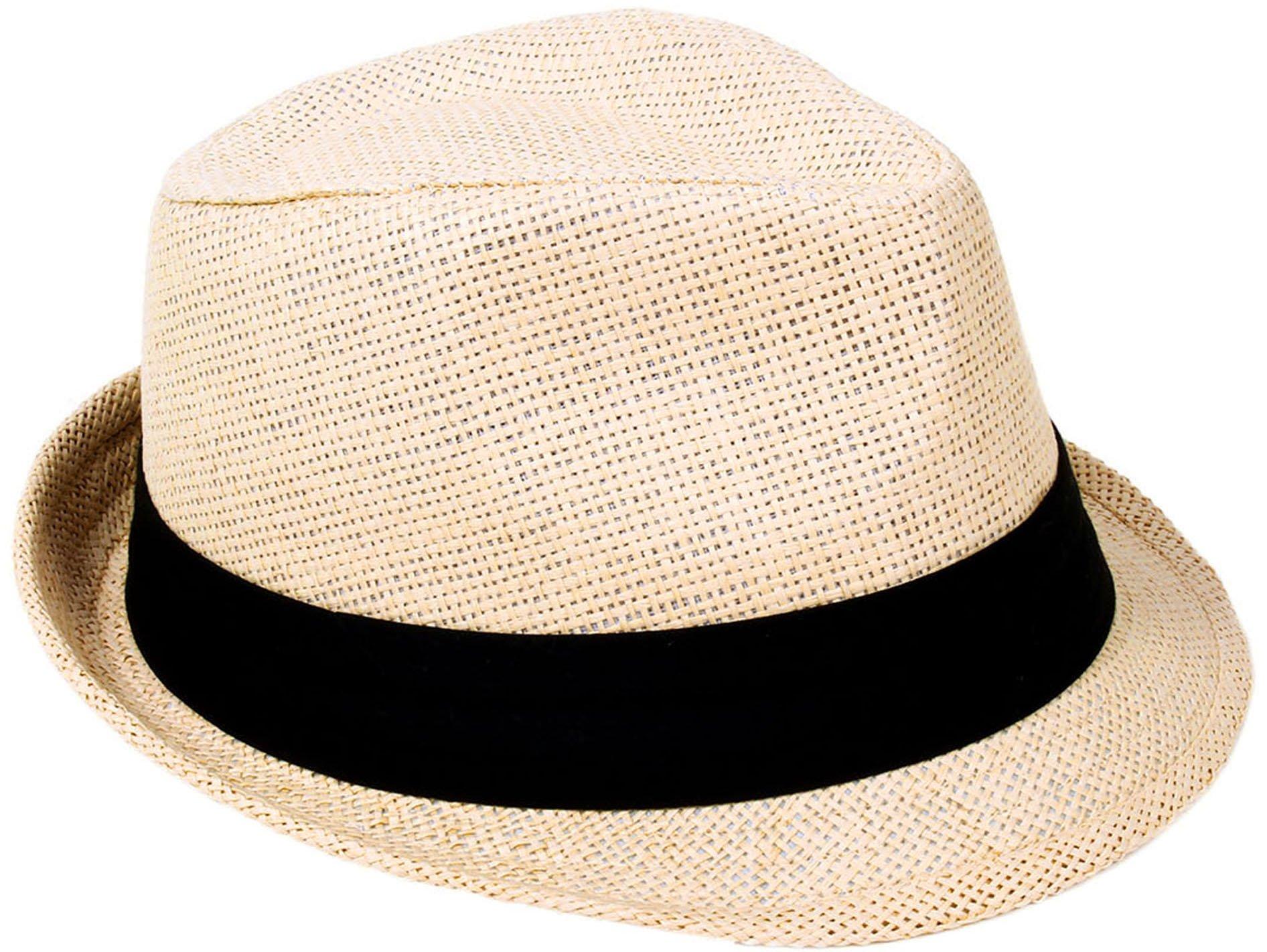 Verabella Fedora Hat Women/Men's Summer Short Brim Straw Sun Hat,Natural,SM