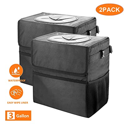 Cart Trash Can KXCON Large Capacity Garbage Bag with Lid and Storage Pockets Leak-Proof Vinyl Multipurpose Truck Organizer (Large 2pack): Automotive