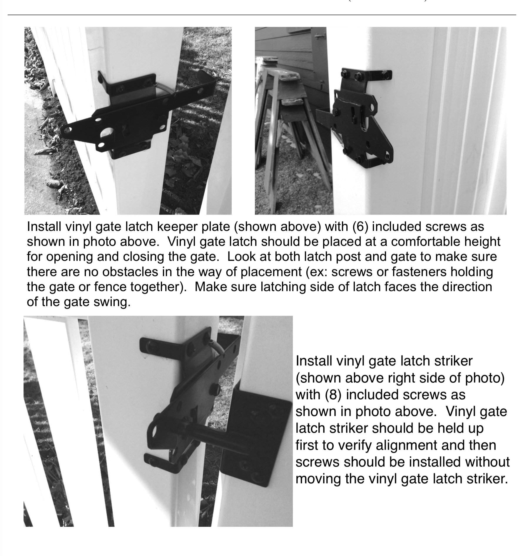 Stainless Steel Vinyl Gate Latch BLACK (for Vinyl, Wood, PVC etc  Fencing)  Fence Gate Latch w/Mounting Hardware