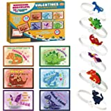 Valentines Day Dinosaur Cards for Kids with Dinosaur Braceletes Friendship Gift Party Favor Toy 30 Pack for Kids Classroom Ex