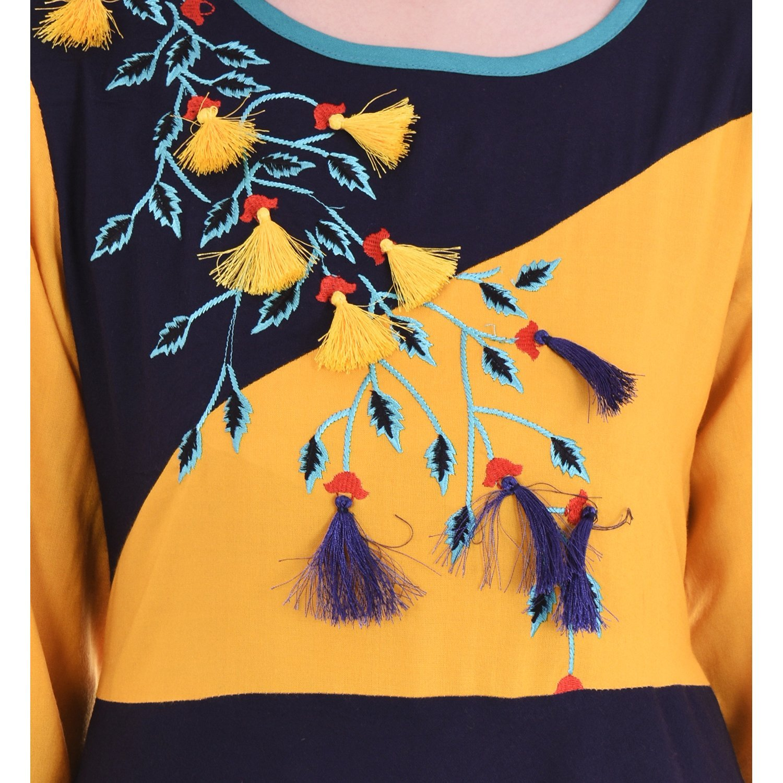 Chichi Women 3/4 Sleeve Tunic Embroidery Top Kurti Blouse (Blue) by CHI (Image #5)