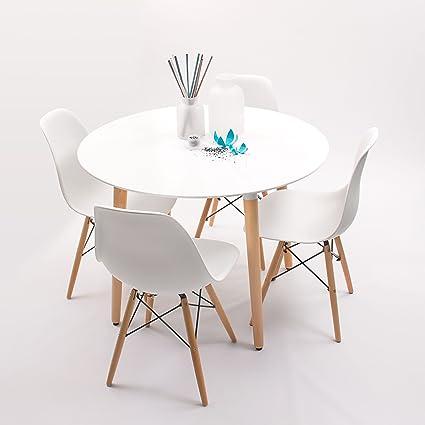 Conjunto de comedor de diseo nrdico NORDIKMAX con mesa redonda