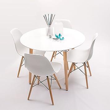 conjunto de comedor nordik max con mesa redonda lacada blanca y 4 sillas eames - Mesa Redonda Comedor
