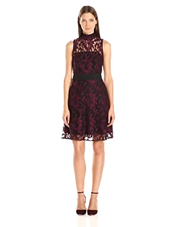 d5f01e3053 RACHEL Rachel Roy Women s Sheer Lace Mock Neck Dress at Amazon ...