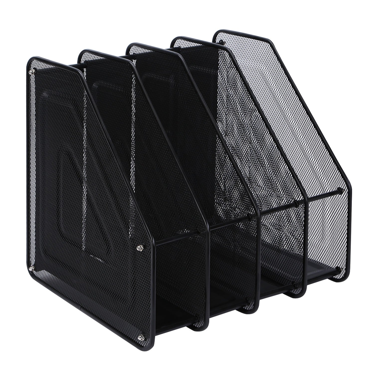 TOROTON File Rack Holder Black 4 Compartments Mesh Metal Home Office Desk Book Sorter Storage Shelf for Paper Magazine Documents and Books