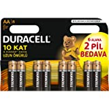 Duracell Lr6/Mn1500 Basic Kalem Pil, 8'li, AA Bakır/Siyah