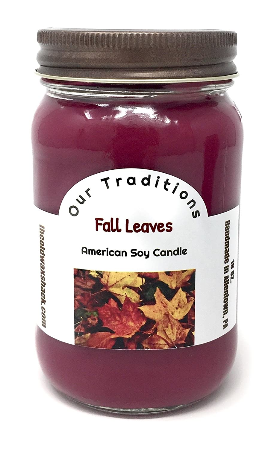 Autumn Scent Mason Jar The Old Wax Shack Fall Leaves Earthy 16 Oz Soy Candle