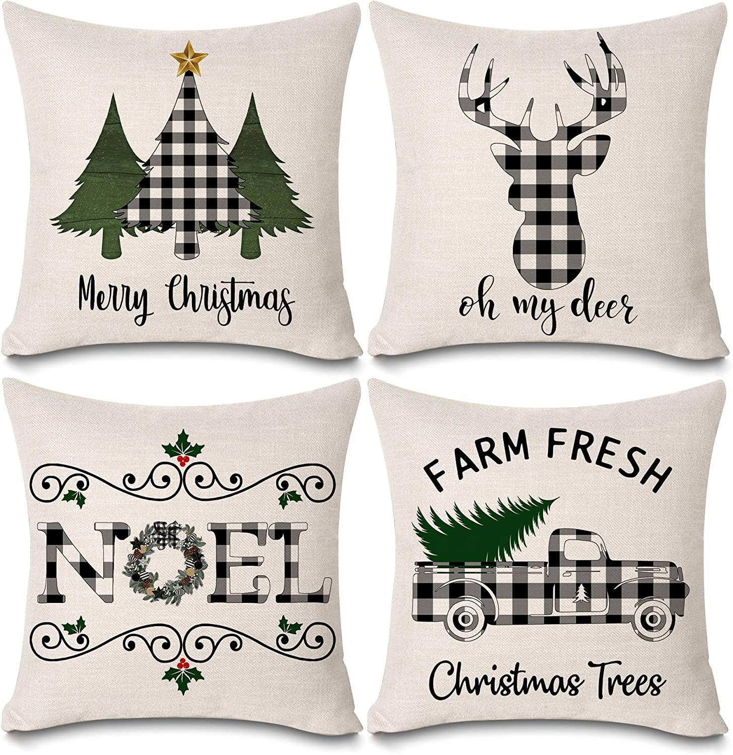 "KACOPOL Christmas Buffalo Plaids Deer Christmas Tree Farmhouse Truck Noel Pillow Covers Cotton Linen Throw Pillow Case Cushion Cover 18"" X 18"" Set of 4 Christmas Decorations (4 Pack Christmas Plaids)"