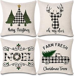 "KACOPOL Christmas Buffalo Plaids Deer Christmas Tree Farmhouse Truck Noel Pillow Covers Cotton Linen Throw Pillow Case Cushion Cover 18"" X 18"" Set of 4 Christmas Decorations (4 Pack Christmas Plaids)"