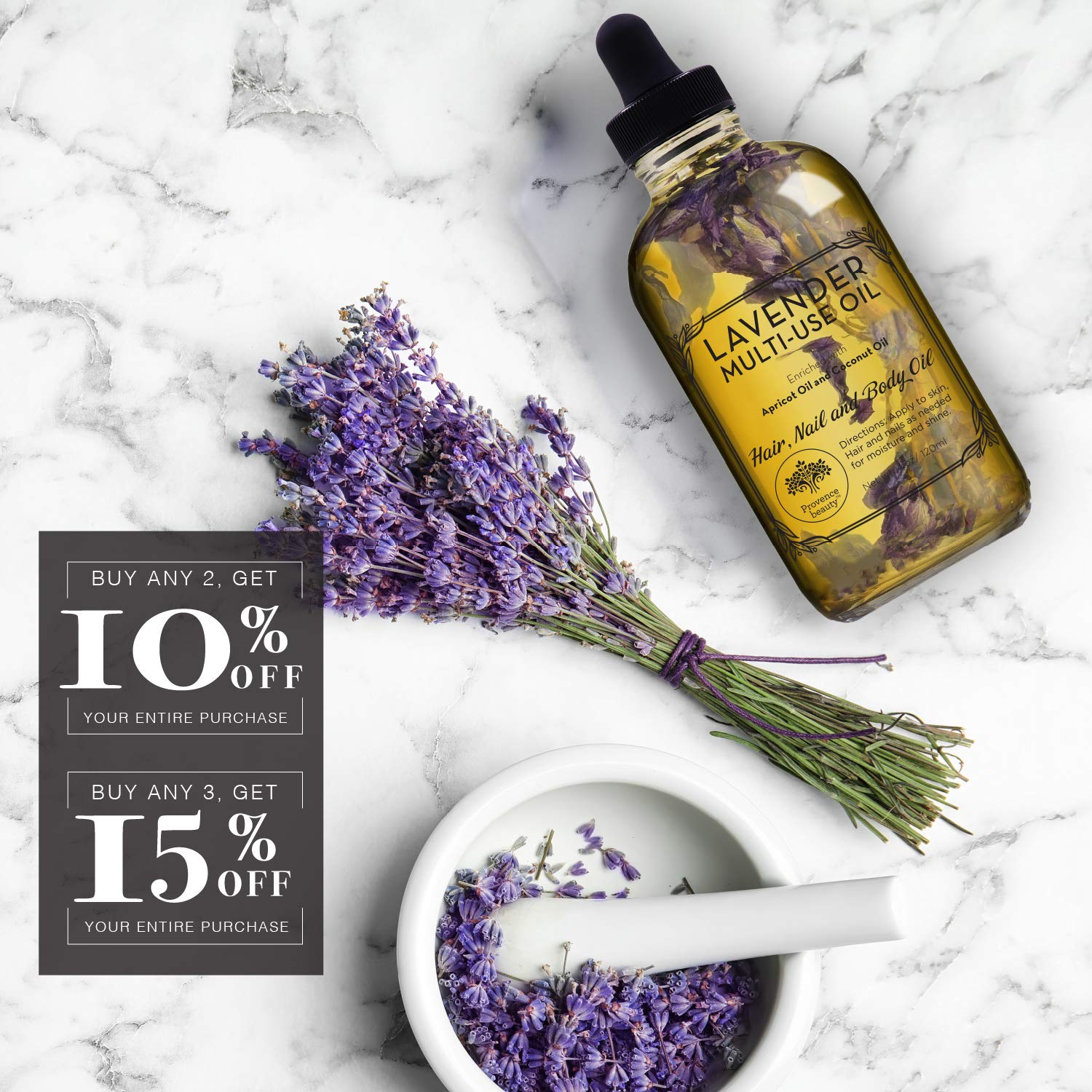 Lavender Multi-Use Oil for Face, Body and Hair - Organic Blend of Apricot, Vitamin E, Fractionated Coocnut and Sweet Almond Oil Moisturizer for Dry Skin, Scalp and Nails - 4 Fl Oz : Beauty