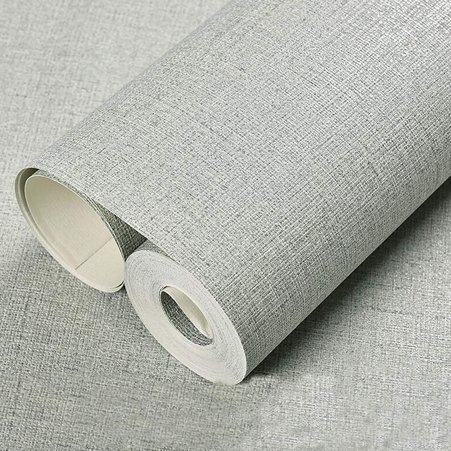 """Flaxen Grass Cloth Peel and Stick Wallpaper 15.8"""" X 118""""Self-Adhesive Removable Linen Wallpaper Decortaive for Furniture Room"""
