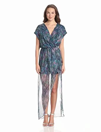 Rory Beca Women's Plaza Printed Overlap Maxi Dress, Elo, X-Small