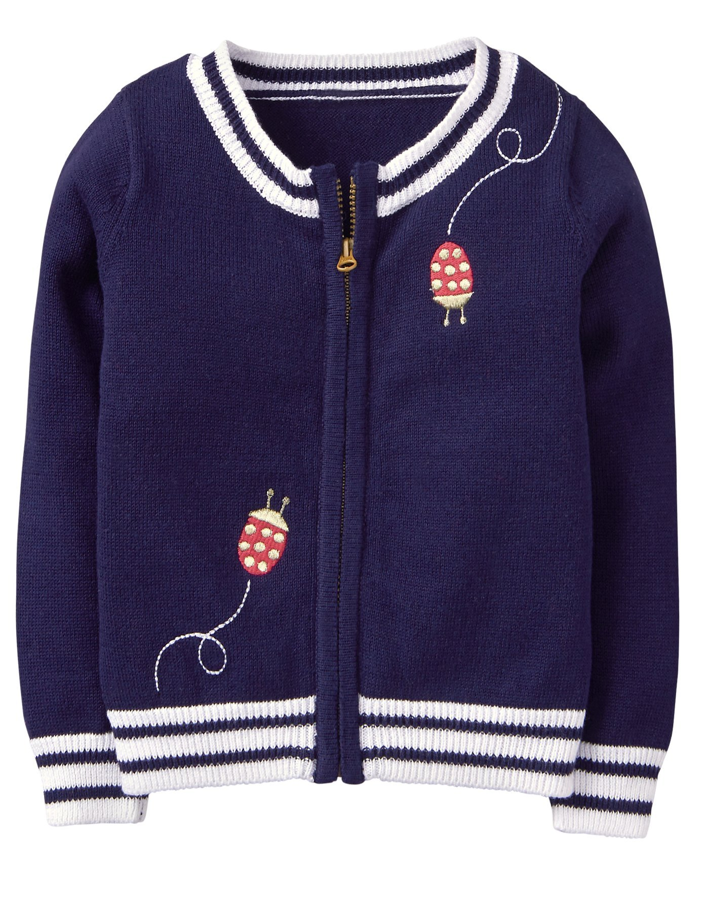 Gymboree Girls' Toddler Long Sleeve Zip Ribbed Cardigan, Navy Ladybug, 4T by Gymboree (Image #1)