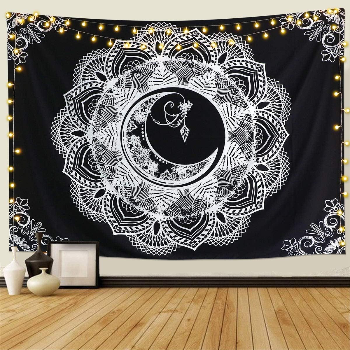 Dremisland Tapiz de Pared dise/ño de Luna Color Negro y Blanco