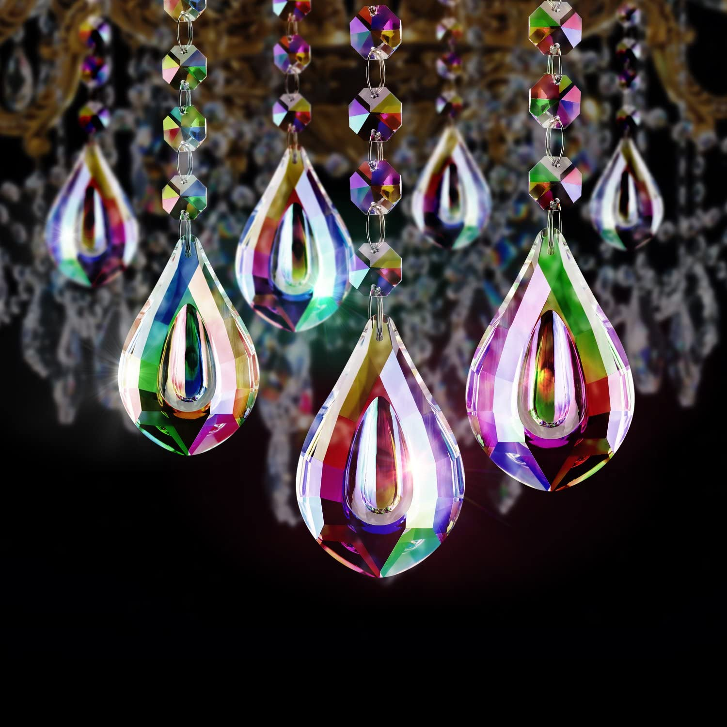 Crystal Chandelier Pendants Parts Glass Beads Hanging Crystal Beads Chain Garland AB Color Crystal Drop Beads Fushing 10Pcs 1ft Color Crystal Strands