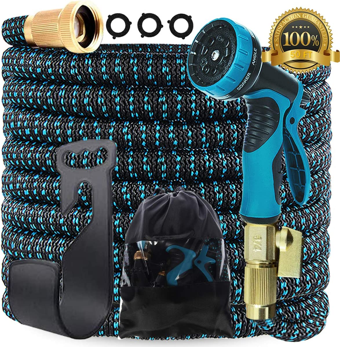 Gardguard 50ft Expandable Garden Hose: Water Hose with 9 Function Nozzle and Durable 3-Layers Latex, Flexible Water Hose with Solid Brass Fittings, Best Choice for Watering and Washing: Home Improvement
