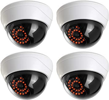 Fake Dummy Security CCTV Dome Camera with Realistic Look Recording Flashing Red LED Light Indoor and Outdoor Use 4 Pack for Homes /& Business by Armo