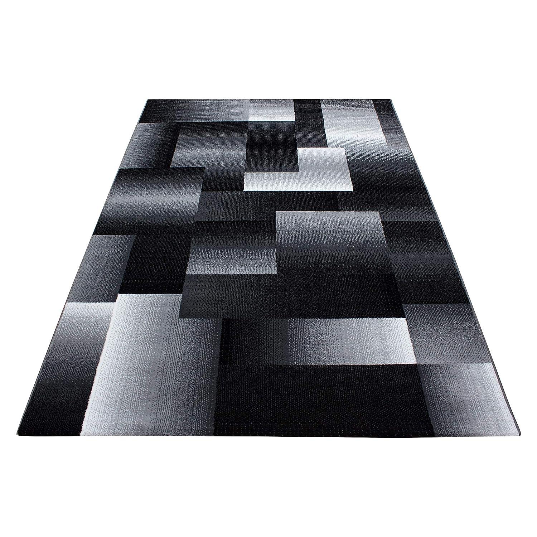 Teppiche modern Design Rechteckig Kurzflor Pflegeleicht Kariert Vintage Schwarz, Maße 160x230 cm