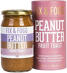 Gourmet Peanut Butter with Cinnamon, Apple and Raisins. Handmade in New Zealand. All natural, Keto Friendly and Non-GMO by Fix & Fogg. Vegan. Superior Tasting PB in a Beautiful Canister (13.2 oz)