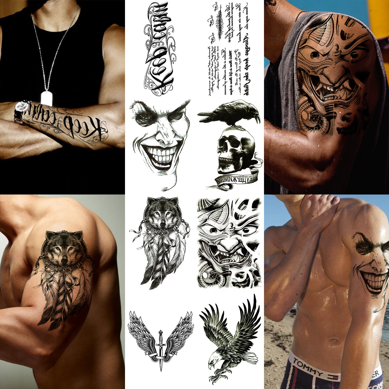 Amazon Com Playmax 8 Sheets Of Stylish Waterproof Long Lasting Rocker Cool Evil Design Wolf Eagle Crow Skull Sword Winds Words Body Arms Shoulders Chest Back Temporary Tattoo Stickers For Teens Guys
