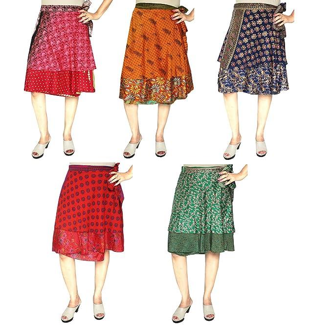Venta al Por Mayor 5 Pcs Lote Dos Capas Sari Indio Mágico Falda Abrigo Mujer